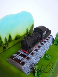 train - Cake by Derika Trains Birthday Party, Train Party, Birthday Cakes, Fancy Cakes, Cute Cakes, 25th Birthday Wishes, Gateau Harry Potter, Fantasy Cake, Cake Shapes