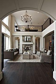 dark wood floors open plan Most Popular Interior Design Styles Defined in 2018 Dark Floor Living Room, Top Kitchen Designs, Trendy Living Rooms, House Styles, Rustic Living Room, House, Living Room Grey, Dark Wood Floors, Floor Decor