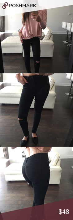 """2 LEFT! Distressed Knee Slit Skinny Jeans Super soft and full length, 5-pocket, zip fly. Matte black hardware. Very comfortable. Size up if between sizes. Modeling size 1. 75% Cotton 23% Polyester 2% Spandex. Waist laying flat-Stretched flat: 0 (13-14.5""""), 1 (13-14.5""""), 3 (13.5-15""""),  5 (14-15.5""""), 7 (14.5-16""""), 9 (15-16.5""""), 11 (15.5-17"""") 13 (16-17.5"""")  Inseam: 0 (29""""), 1 (30""""), 3 (30""""),  5 (30.5""""), 7 (30.5""""), 9 (30""""), 11 (30"""") 13 (29.5"""")  Rise: 0 (9.5""""), 1 (9.5""""), 3 (10""""),  5 (10.5""""), 7…"""