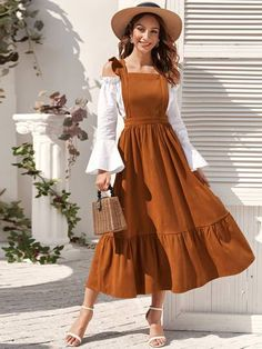 Ruffle Trim High Waist Overall Dress Check out this Ruffle Trim High Waist Overall Dress on Shein and explore more to meet your fashion needs! Muslim Fashion, Modest Fashion, Hijab Fashion, Modest Clothing, Fashion Dresses, Simple Dresses, Pretty Dresses, Beautiful Dresses, Modest Dresses
