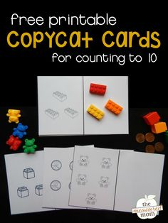 Teach counting with these free printable copycat cards. What a great preschool math activity!