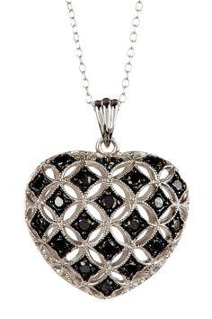 Silver Black Diamond Heart Pendant Necklace on HauteLook