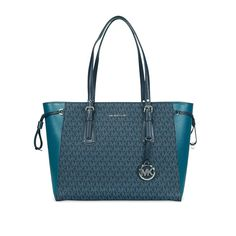 Michael Kors Voyager Medium Multifunction Top-Zip Tote (Luxe Teal/Admiral) -- Details can be found by clicking on the image. (This is an affiliate link) Michael Kors Fulton, Michael Kors Tote, Handbags Michael Kors, Clear Handbags, Work Handbag, Michael Kors Fashion, Tote Purse, Purses, Leather