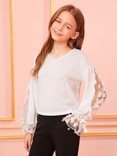 Girls Applique Mesh Sleeve Rib-Knit Tee - Source by - Preteen Girls Fashion, Teen Girl Outfits, Dresses Kids Girl, Girls Fashion Clothes, Kids Fashion, Fashion Outfits, Cute Outfits For Kids, Tween Mode, Mädchen In Bikinis