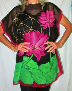 silk tunicLotus Goddess pink lotus by HeavenOnEarthSilks on Etsy