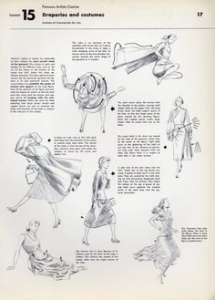 Draperies and costumes from Famous Artists Course by Institute of Commercial Art, Inc. Drawing Tips, Drawing Reference, Painting & Drawing, Drawing Style, Drawing Studies, Art Studies, Figure Studies, Drapery Drawing, Commercial Art
