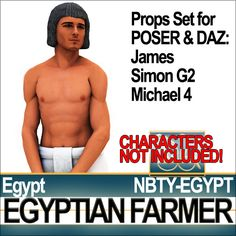 Egyptian Farmer Props Set with typical Ancient Egyptian working Kilt and man common wig. All 3D models ready for POSER James and Simon G2 an...
