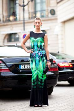Fall 2012 Couture Street Style: A graphic dress is evening-ready but can work for day as well.