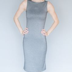See how I made this simple knit sheath dress using two pieces of fabric and very limited sewing skills!
