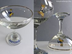 Pair of vintage 1970s Babycham glasses with yellow deer /