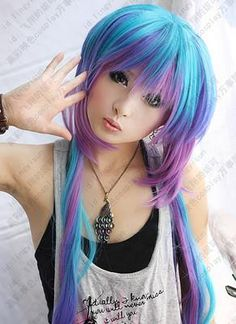 219 Vocaloid 3 AOKI LAPIS cosplay wig 4 colors mix 100cm free shipping