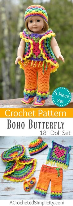 "Crochet Pattern - 18"" Doll Boho Butterfly 5 Piece Set by A Crocheted Simplicity"