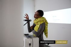 Pictured is Nandipha Mntambo, speaking at our CreativeMornings/Johannesburg chapter on the theme of sex. Her talk delves into gender, sexuality, and other influences in her work.