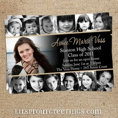 Collage Style Graduation Announcement Invitation -