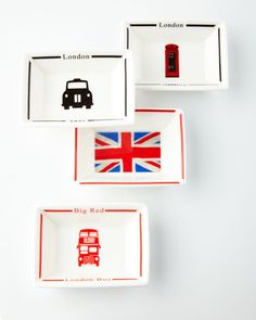 Four London Calling Trays, Multi Colors - Halcyon Days
