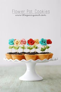 These Flower Pot Cookies are perfect for spring! The bright colors pop and the easy recipe makes them a fun party idea. With sugar cookie cups, chocolate ganache, and Oreo dirt, they are as good to eat as they cute to look at. Köstliche Desserts, Dessert Recipes, Easter Desserts, Plated Desserts, Cake Cookies, Cupcake Cakes, Mini Cookies, Cup Cakes, Cookies Kids