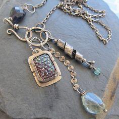 Long Charm Cluster Necklace Sterling Silver Boho Blue Plum trinket gemstone Necklace by artdi on Etsy https://www.etsy.com/listing/110871633/long-charm-cluster-necklace-sterling