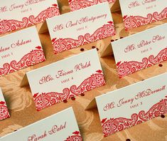 Create escort cards by writing or printing your guest's names and table numbers on the card