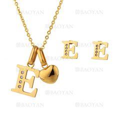 """juego collar y aretes de letra""""E""""brillante en acero dorado inoxidable -SSNEG1093679"""