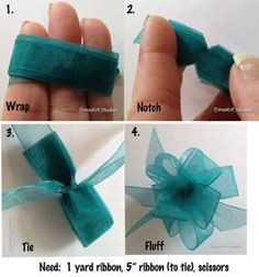 ribbonbow Wrap 1 yd. of ribbon around 3 fingers evenly, cut little notches in center. & then wrap a 5 in. ribbon around notched area & tie in knot, seperate looped ends & slightly twist. BOW.