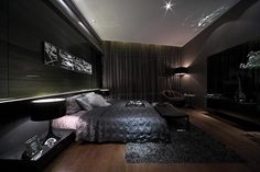 If you love a deep dark bedroom to sleep in at night then these 25 dark master bedroom designs would be a great fit for you! Dark Master Bedroom, Bedroom Black, Dream Bedroom, Modern Bedroom, Black Rooms, Men's Bedroom Design, Mansion Bedroom, Black Bedroom Furniture, Furniture Nyc