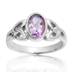 Bling Jewelry Sterling Silver Celtic Triquetra Amethyst Color Ring -