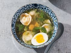 This chicken-dumpling pelmeni soup combines marinated mushrooms, brined cherry tomatoes, fresh herbs, scallions, and a soft-boiled egg. Regulars have taken to calling it something else: Russian Ramen.