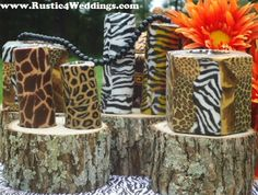 """""""Safari Wedding Centerpieces perfect for animal print wedding themes or buffet tables."""" They couldn't leave well enough alone. No one taught them the """"Know when to hold up; know when to fold up"""" principle! Animal Print Wedding, Safari Wedding, Safari Party, Safari Theme, Jungle Safari, Rustic Candle Holders, Rustic Candles, Candle Holders Wedding, Wedding Decorations For Sale"""