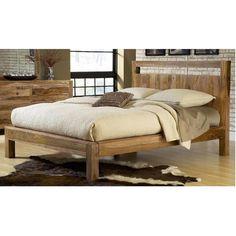 Queen Platform Bed in Natural Sheesham   Nebraska Furniture Mart