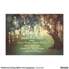 whimsical string lights tree engagement party card