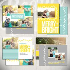 Christmas Card Templates: Merry & Bright.  Love the teal.  #christmascard