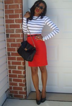 See between the stripes  , H&M; in Shirt / Blouses, H&M; in Skirts, Aldo in Bags, Aldo in Heels / Wedges