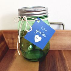 Personalized #wedding #favor #tags. Gift Tags. Thank You Gracias Tags. Mason Jar Tags
