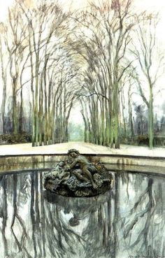 Alexandre Benois, 'Versailles - Fountain of Bacchus in the winter' Building Painting, Water Reflections, Post Impressionism, Bacchus, Art Database, France, Russian Art, Paris Travel, Water Garden