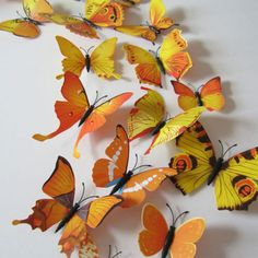 3D wall sticker butterflies  Yellow  You are buying a lot of 12 butterflies!  Range of sizes from 2 tall and 2 1/2 wide to 2 tall and 5 wide