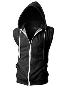 OHOO Mens Slim Fit Sleeveless Lightweight Zip-up Hooded Vest with Zipper Trim Stylish Mens Outfits, Casual Outfits, Fashion Outfits, Mens Sweatshirts, Hoodies, Mode Steampunk, Cyberpunk Fashion, Hooded Vest, Drawing Clothes
