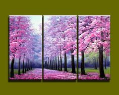 3 piece modern canvas wall art triptych Acrylic Pink Blossom tree painting oil canvas for living room home decoration - Design Art Multi Canvas Painting, Multiple Canvas Paintings, Canvas Paintings For Sale, 3 Piece Canvas Art, Simple Oil Painting, Acrylic Wall Art, Canvas Wall Art, 3 Piece Painting, Painting Abstract