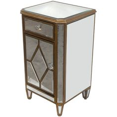 Awesome Mirrored Nightstand Accent End Side Table,18''L X 31''H. #Unbranded #Contemporary