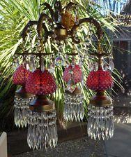 Vintage cranberry Fenton Art glass Brass pl spelter hanging swag Plugin lamp   Vintage cranberry Fenton Art glass Gilt Brass Bronze hanging Ceiling ...