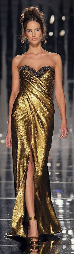 Abed Mahfouz - gold spangle wrap around gown, with fitted bodice, sleeveless  thigh slit