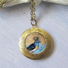 Locket, Bird Necklace, Bird Locket, Crown Bird Pendant, Photo Necklace, Gold Locket