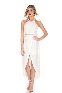 LANA EMBELLISHED HALTER DRESS - WHITE