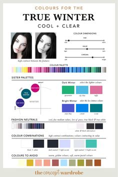 Colours for the True Winter type the concept wardrobe Deep Winter Palette, Cool Winter Color Palette, Deep Winter Colors, Band T Shirts, Cool Skin Tone, Cool Tones, Winter Beauty Tips, Winter Typ, Clear Winter