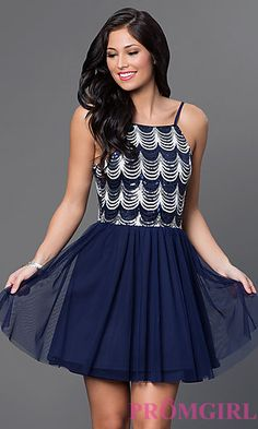 Short Spaghetti Strap Dress by As U Wish at PromGirl.com