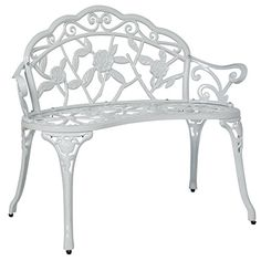 BCP Outdoor Patio Garden Bench Park Yard Furniture Cast Iron Antique Rose White >>> Click on the image for additional details.
