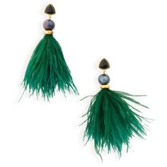 Women's Lizzie Fortunato Parker Feather Drop Earrings featuring polyvore, women's fashion, jewelry, earrings, green, lizzie fortunato jewelry, white pearl earrings, pearl drop earrings, green pearl earrings and green jewelry
