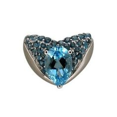 Estate Stunning 14k White Gold Bright Pear Shape & Round Blue Topaz Ring 7 1/2