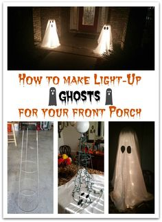 How to Make DIY Halloween Ghost Lights For Your Front Porch - Real Time - Diet, Exercise, Fitness, Finance You for Healthy articles ideas Diy Halloween Ghosts, Homemade Halloween Decorations, Halloween Themes, Halloween Crafts, Diy Halloween Lighting, Diy Halloween Entrance, Outdoor Halloween Lights, Victorian Halloween Decorations, Light Up Halloween Costumes