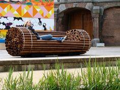 Bambus Gartenbank originelles Konzept bequemes Tagesbett