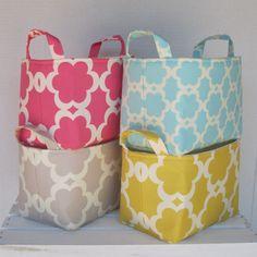 Fabric Basket Organizer Storage Container Bin -  Tarika - Soft Gray. $18.00, via Etsy.